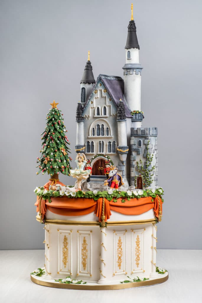 Nutcracker cake with carved castle and sugar figures