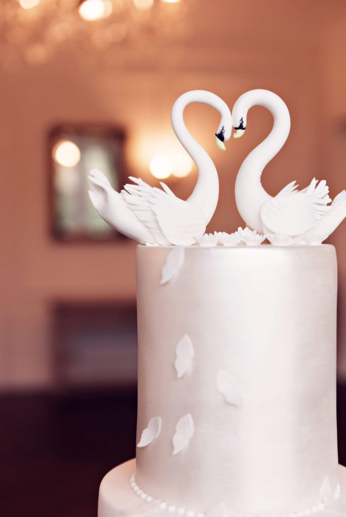 Top tier od wedding cake with lustre finish and sugar swan topper