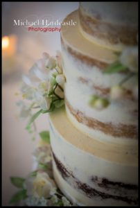 Details on semi nake wedding cake