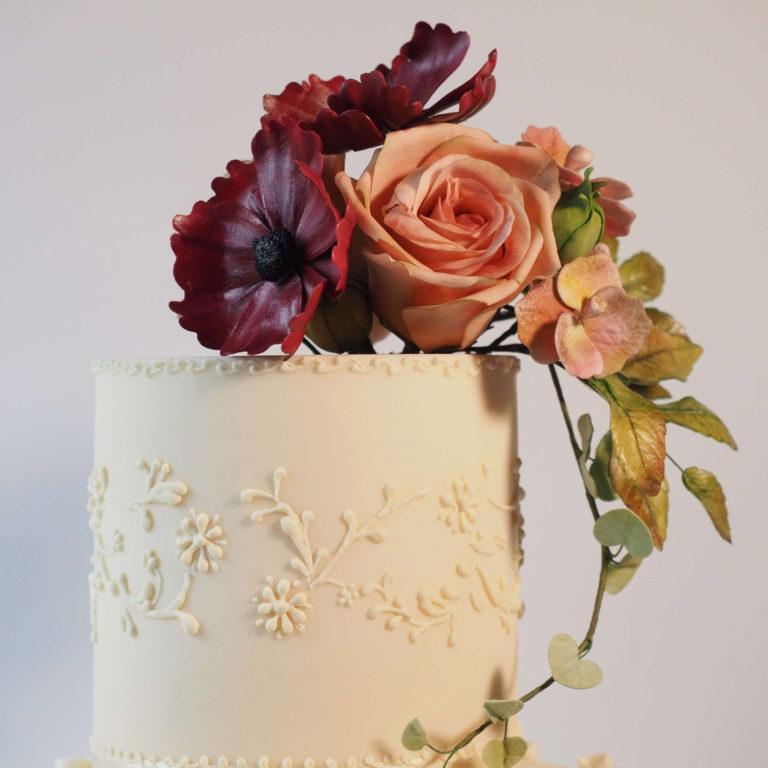 Hand made sugar flower wedding cake topper