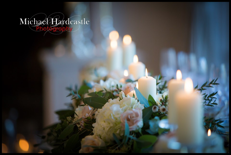 Top table candles and flowers