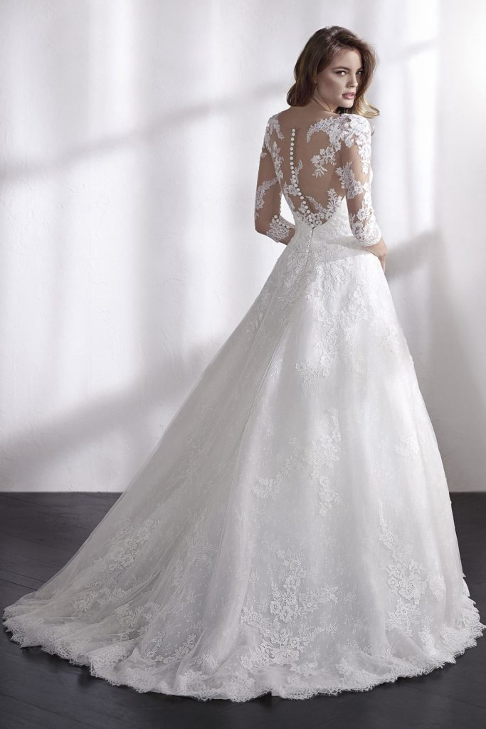 Bride in lace wedding dress with illusion back