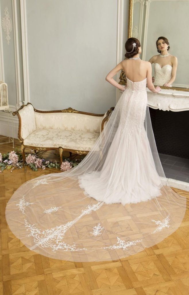 Bride in wedding dress with long tulle train