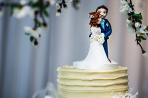Couple bride and groom wedding cake topper buttercream cake