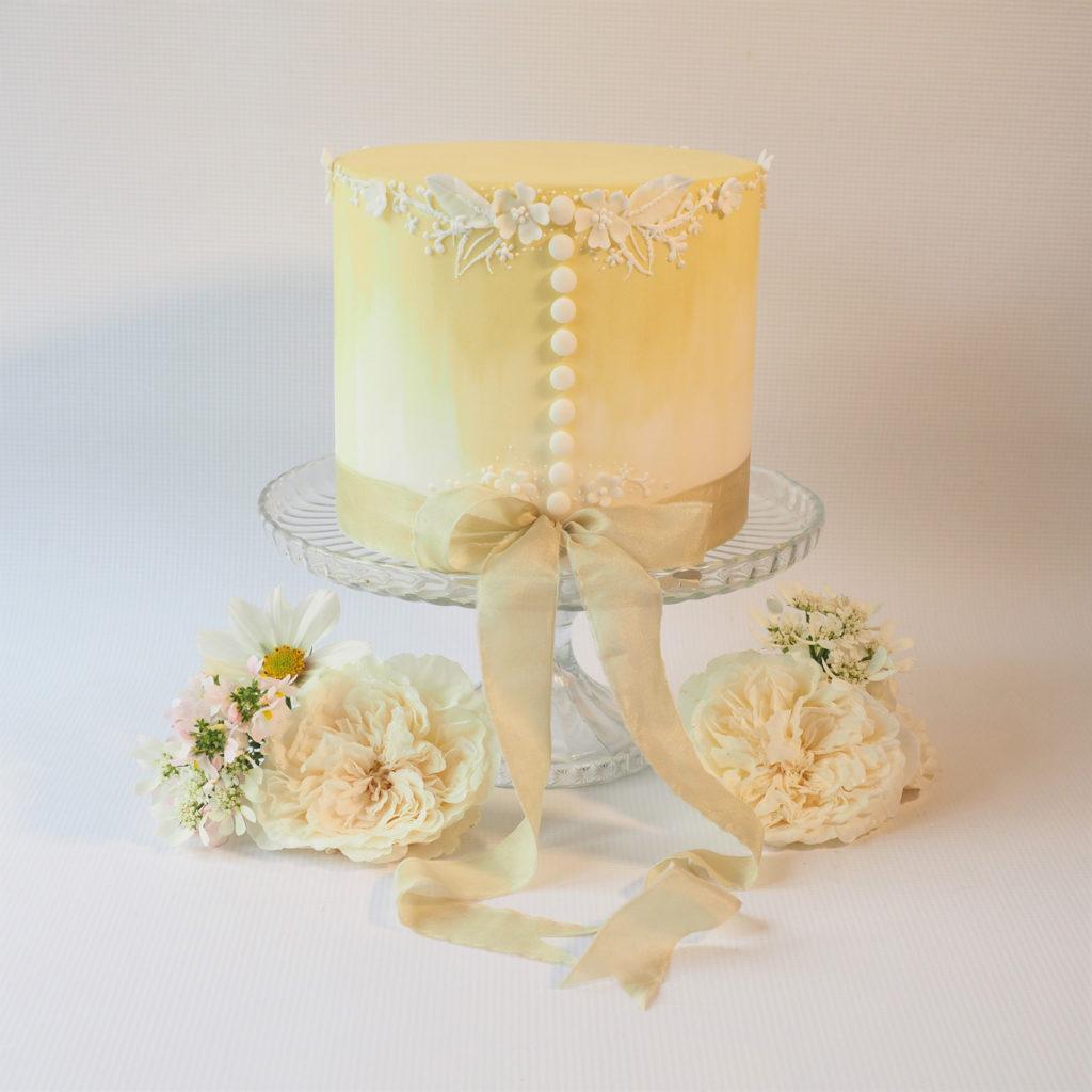Hand painted single tier wedding cake