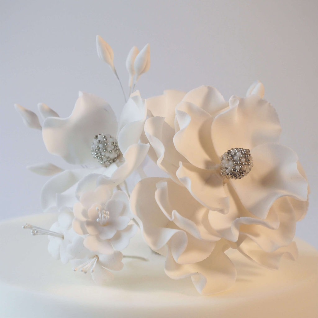 Contemporary white sugar flowers