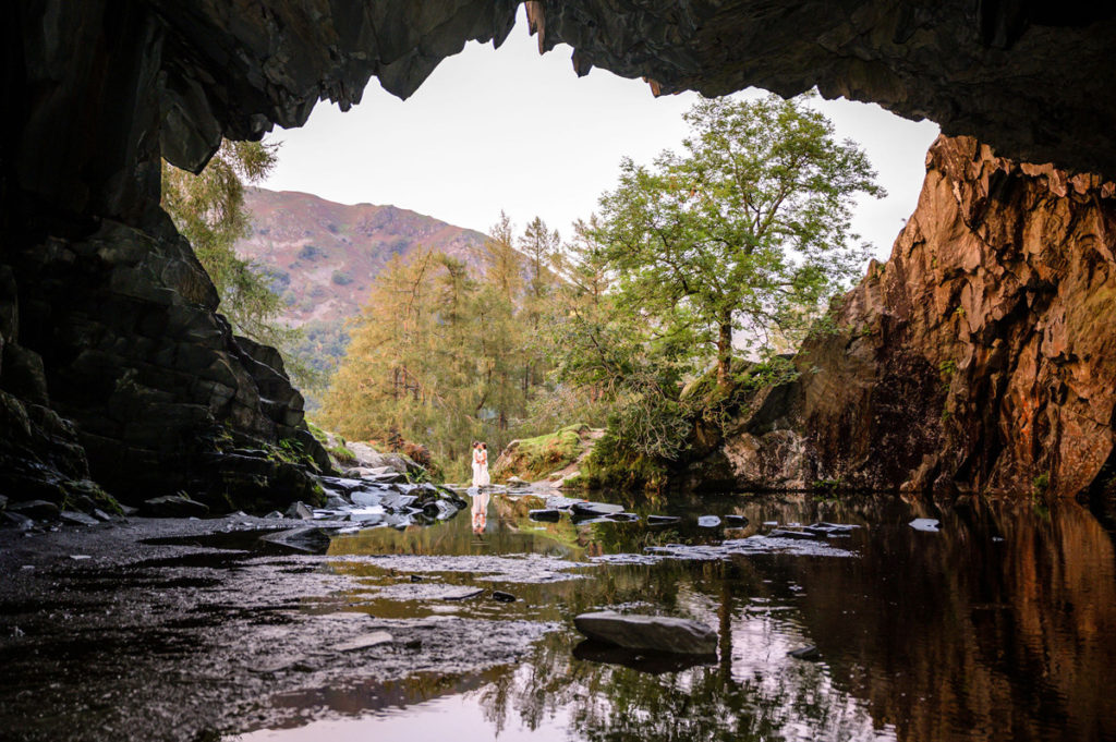 Two-Brides-in-rydal-Caves---Just-married-at-Cote-How-by-Simon-Hughes