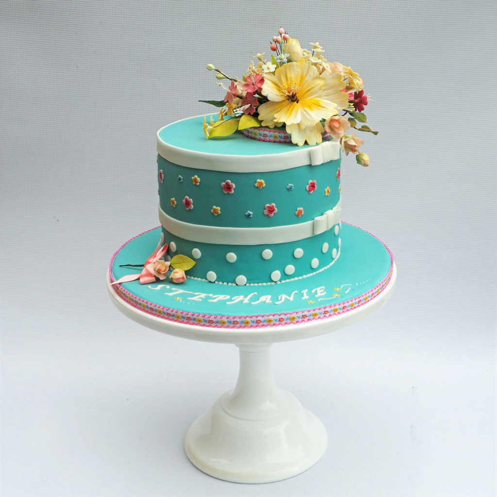 Cath Kidston inspired cake with sugar flowers