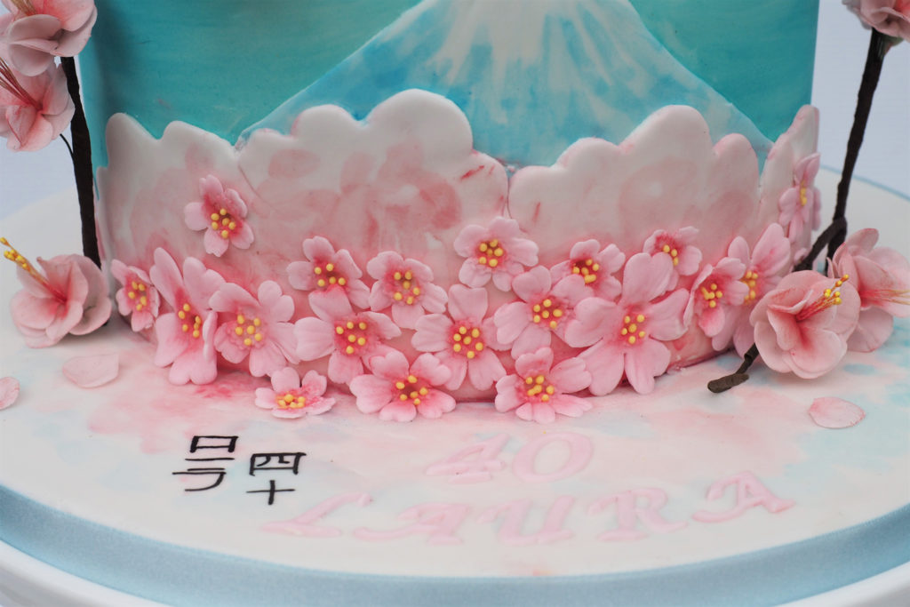 Cake with hand painted Mount Fugi and cherry blossom and 2 d cherry blossom
